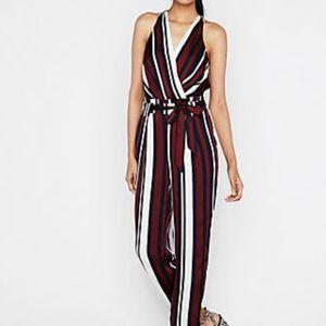 women's express striped jumpsuit surplice belted